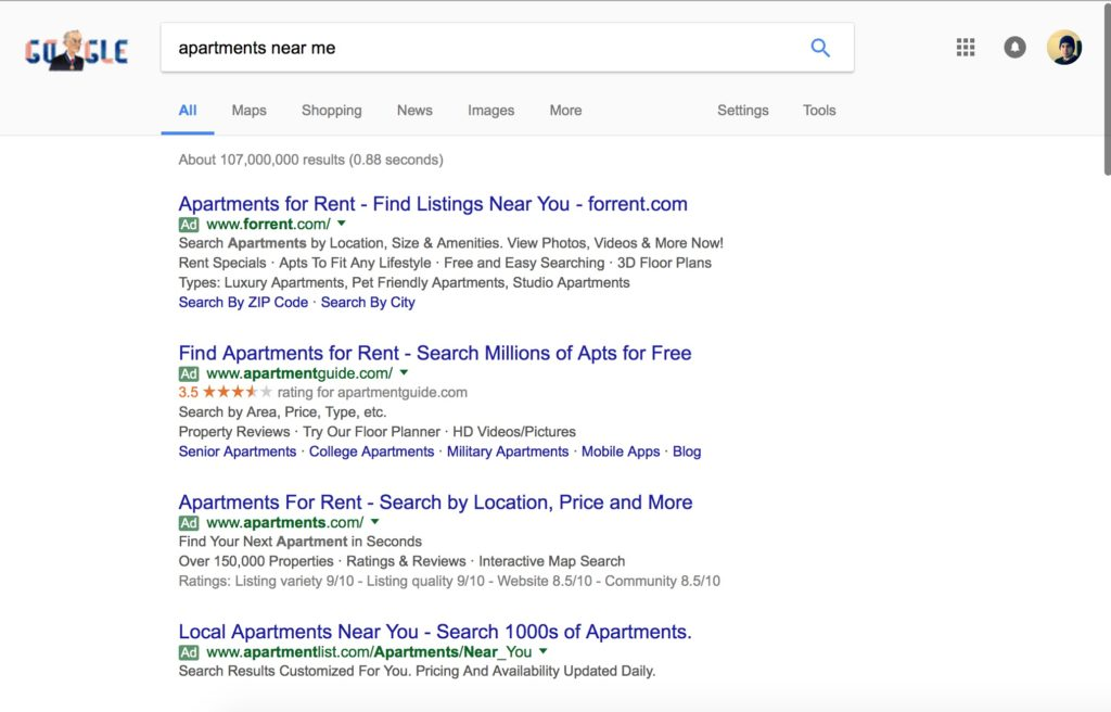 paying to be at the top of google