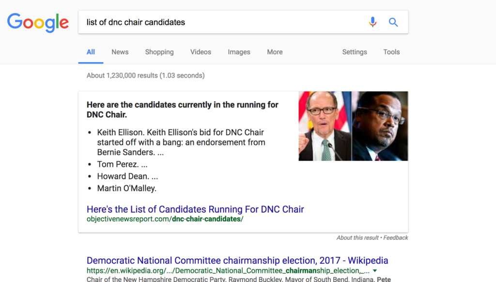 example of list element featured snippet strategy