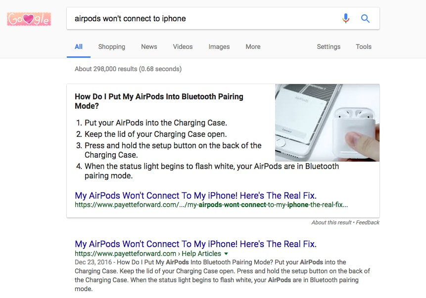 airpods won't connect featured snippet and number one