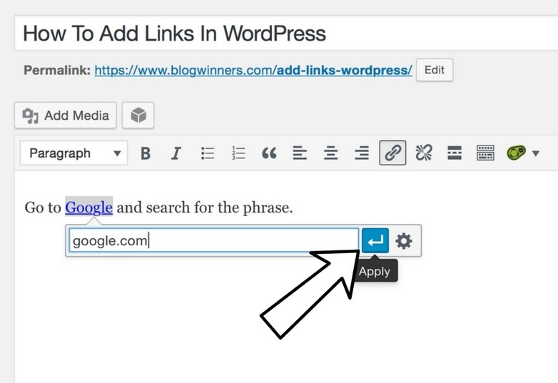 click the blue box with a white arrow to add links in wordpress