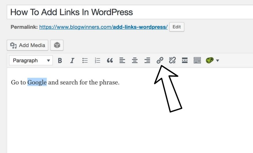 click the link icon to add link in wordpress