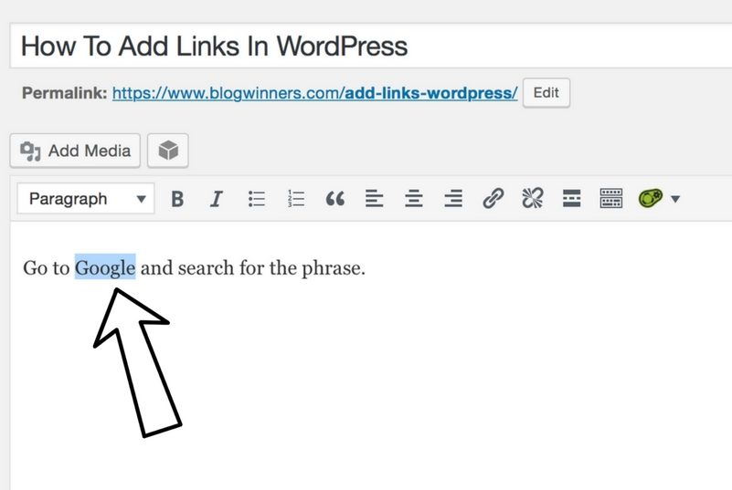 highlight text to add link in wordpress