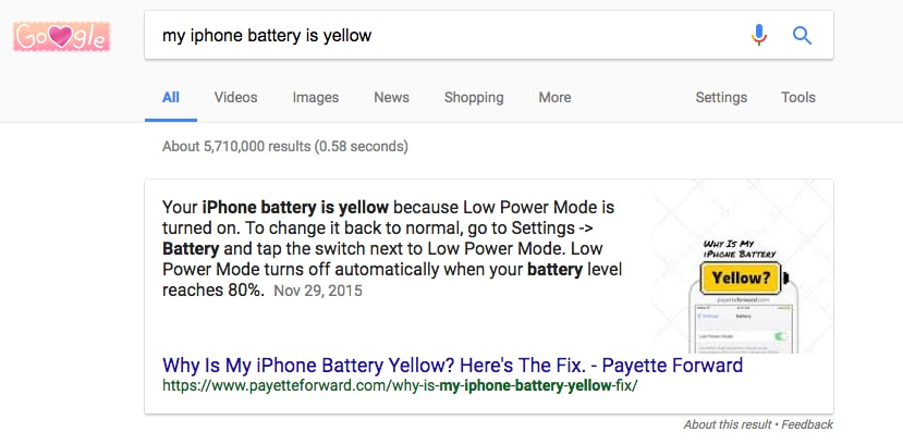 iphone battery yellow featured snippet