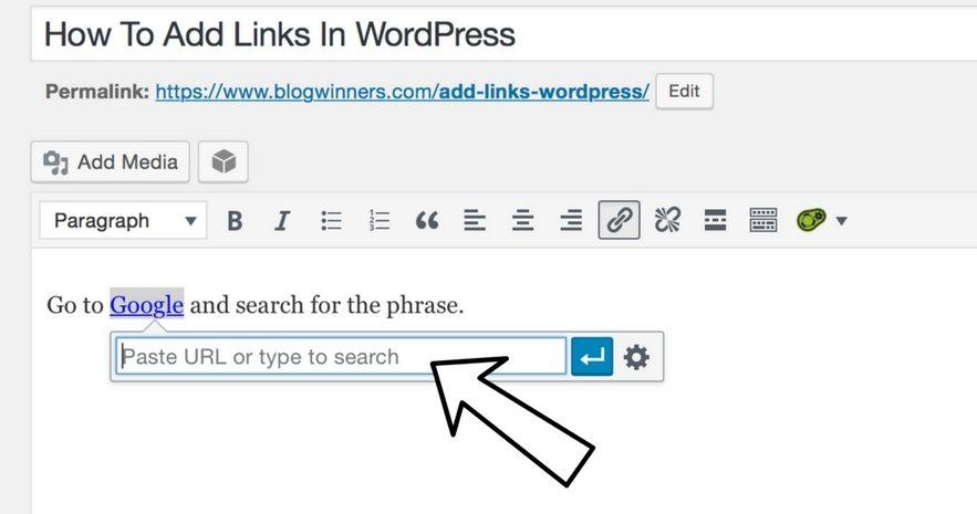 paste url to add links in wordpress