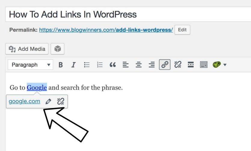 your link has been added to your wordpress post